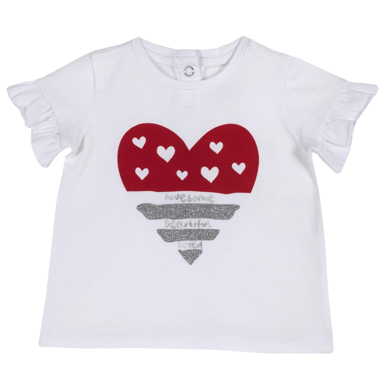 T-shirt con Volant e Stampa
